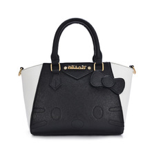 Hello Kitty Bag PU Leather Women Handbag Black White Patchwork Top-handle Bags Ladies high quality brand female sac a main