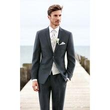Mens Wedding Suits 2017 Custom Made grey Gentleman Men Suit Slim Fit Groom Groomsman Blazer suits for men 2 piece (Jacket+Pants)
