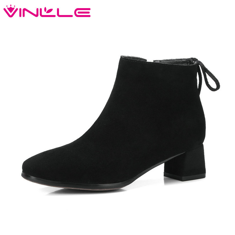 VINLLE 2019 Winter Women Shoes Ankle Boots Square Med Heel