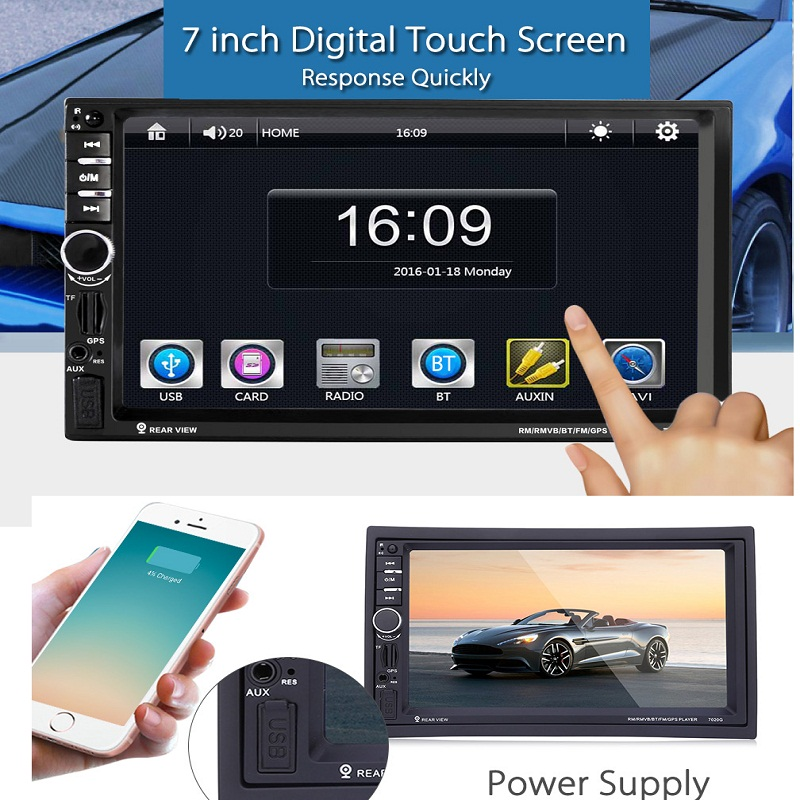 2 DIN Univeral Car DVD Video Player Touch Screen GPS Navigation 1080P HD Player USB MP4