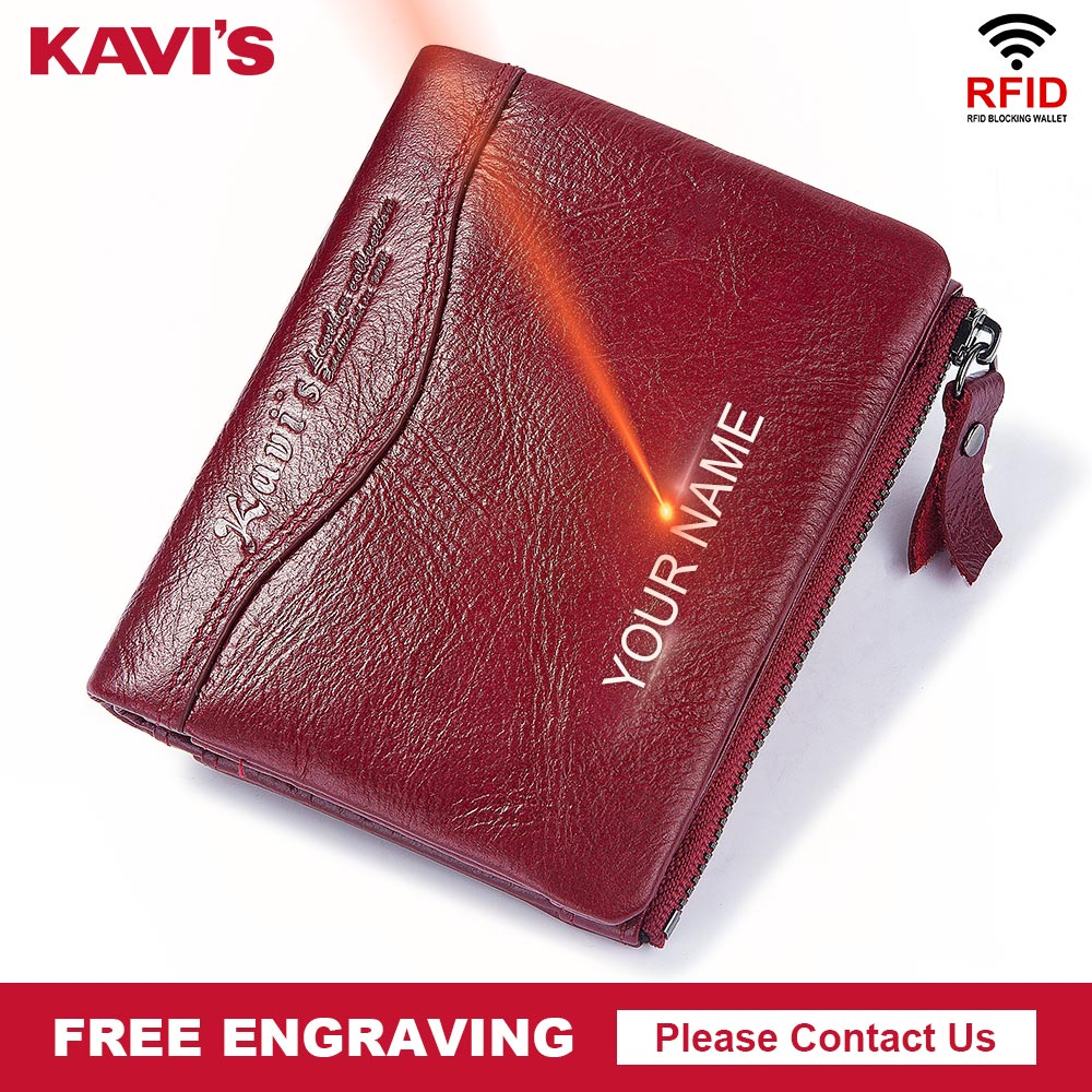 KAVIS Free Engraving 100% Leather Women Wallet Female And Purses Small Walet Portomonee Money Bag Zipper Card Holder For Girls