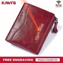 KAVIS Free Engraving 100% Leather Women Wallet Female and Purses Small Walet Portomonee Money Bag Zipper Card Holder for Girls