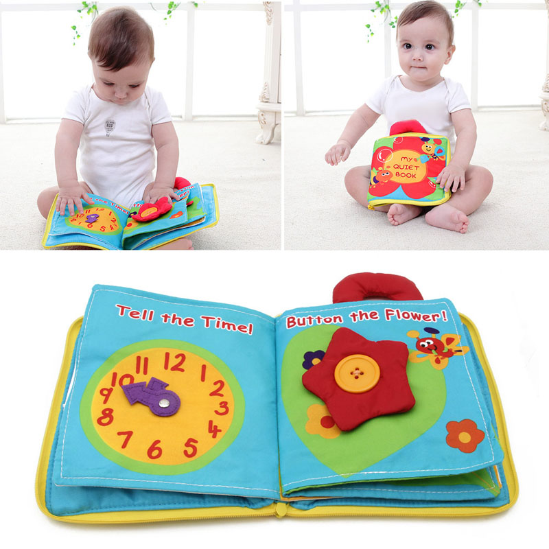 6 Page 12 Face Soft Cloth Baby Boys Girls Books Rustle Sound Infant Educational Stroller Rattle Toys For Newborn Baby 0-12 Month