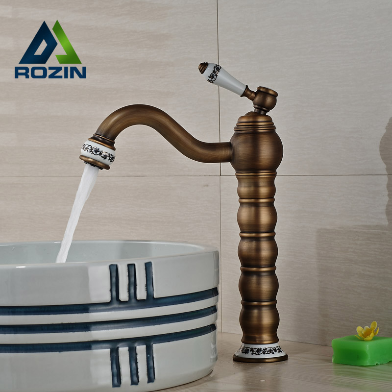 Antique Brass Single Hole Bathroom Sink Faucet Deck Mounted Hot and Cold Basin Mixer Tap  antique bathroom vanity sink faucet single ceramic handles brass hot and cold basin mixer copper pop up drain
