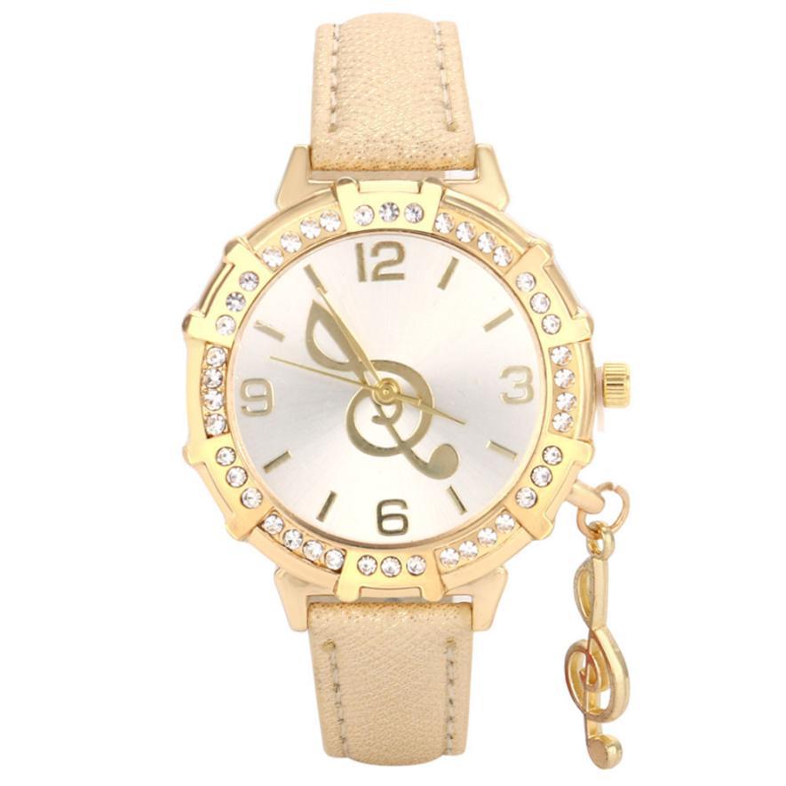 New Luxury Women Watches 2017 Popular Gold Musical Note Tower Rhinestone Pendant Quartz Wrist Watch Creative Reloj Mujer Nov08