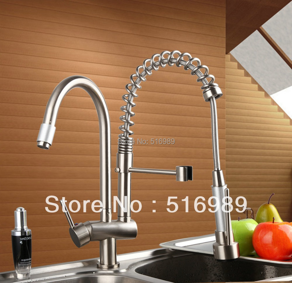 Free shipping Sink Vessel Solid Brass With Two Spout Tap Brushed Nickel Kitchen Faucet DS8525-7 led spout swivel spout kitchen faucet vessel sink mixer tap chrome finish solid brass free shipping hot sale