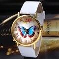 Relojes mujer 2017 mujeres de la manera vestido de la muchacha de pulsera reloj quarzt reloj butterfly estilo banda de cuero de cuarzo analógico reloj de pulsera