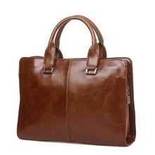 Brand Men's Briefcase Crazy Horse Leather Laptop Handbag Cas