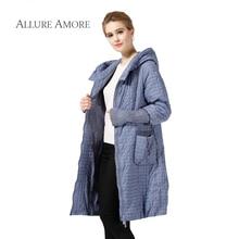 Allure Amore winter jacket women coat paragraph warm parka long plus size jackets casual cotton argyle coat female wide-waisted