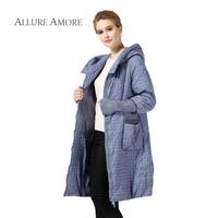 Allure Amore Winter Jacket Women Coat Paragraph Warm Parka Long Plus Size Jackets Casual Cotton Argyle