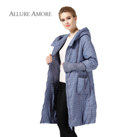 Allure Amore Winter Jacket Women Coat Paragraph Warm Parka Long Plus Size Jackets Casual Cotton Argyle