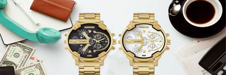 CAGARNY Brand Luxury Watch Men Gold Steel Bracelet Strap Quartz Watches Good Quality Male Wristwatches Fashion Brand NATATE 5
