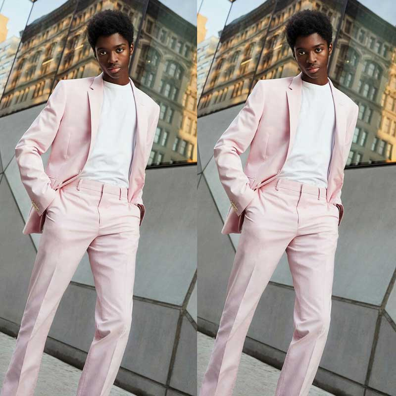 Pink Latest Coat Pants Design Men Suits for Wedding Prom Business Groom Tuxedo 2 Piece Terno Masculino Costume Homme Man Blazers(China)