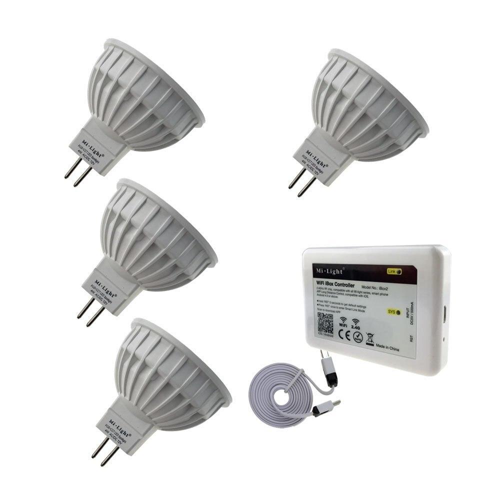 Bricolage set 16 mi llion couleurs 4 pièces X MR16/GU10 RGB + CCT LED Spot lampe 12 V AC/DC + 1 PC 2.4 GHz WIFI iBox2 mi lumière LED de contrôle - 3