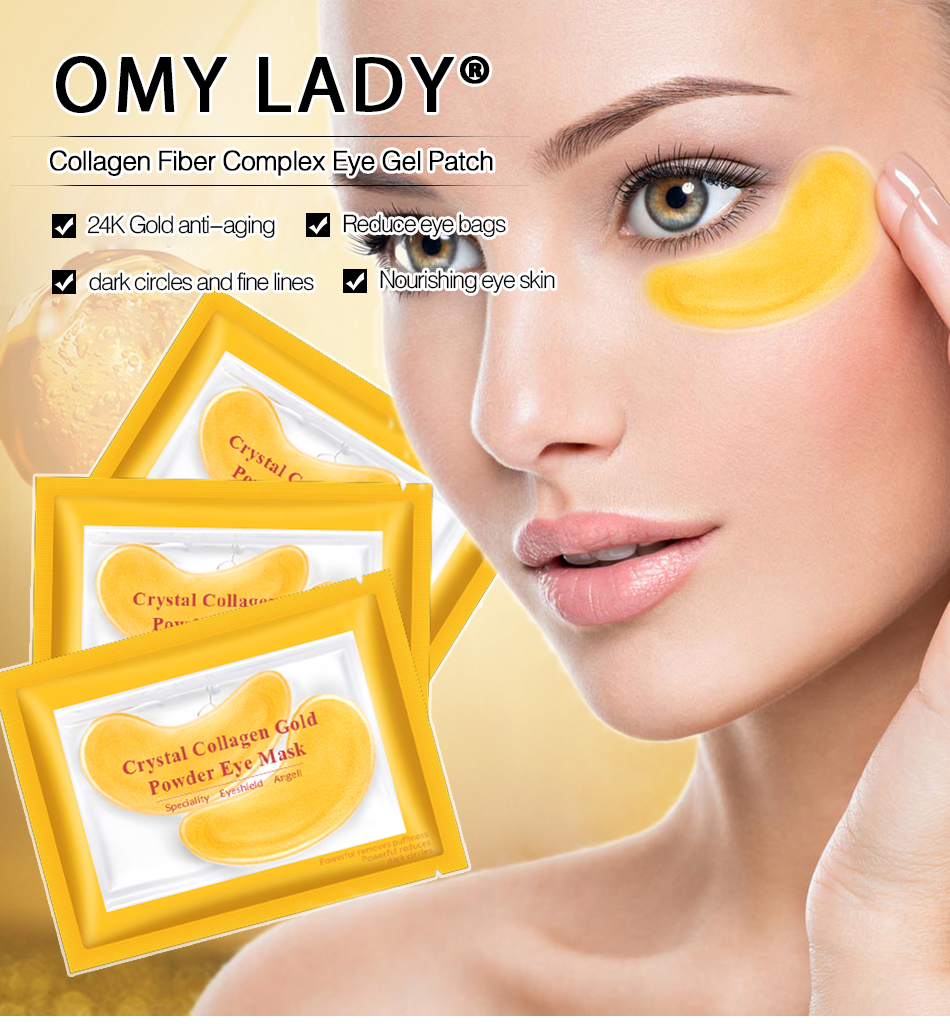 OMY LADY 10pcs 5pack Gold Masks Crystal Collagen Eye Mask Anti Wrinkle Eye Patches For The