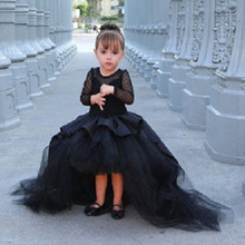 Lovely Black Tulle Pleat Cheap Ball Gown Flower Girl Dresses for Weddings 2017 Princess High Low Little Girls Pageant Gowns FH27