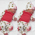 Newborn Toddler Baby Boy Girl Long Sleeve Tops Pants Hat 3PCS Outfit Set Clothes