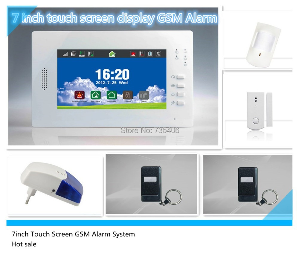 868 Mhz meilleur signal 7 pouces grand écran LCD GSM alarme sans fil pour le système d'alarme de garde de sécurité à la maison