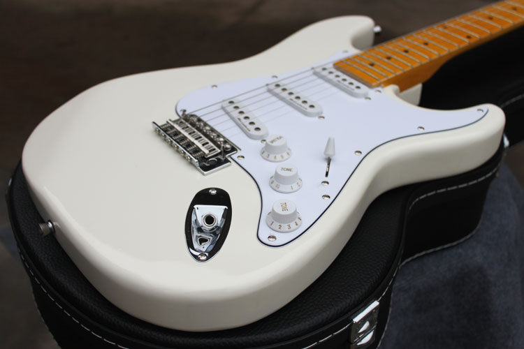 best price wholesale price new style stratocaster signature 6 strings cream white st electric. Black Bedroom Furniture Sets. Home Design Ideas