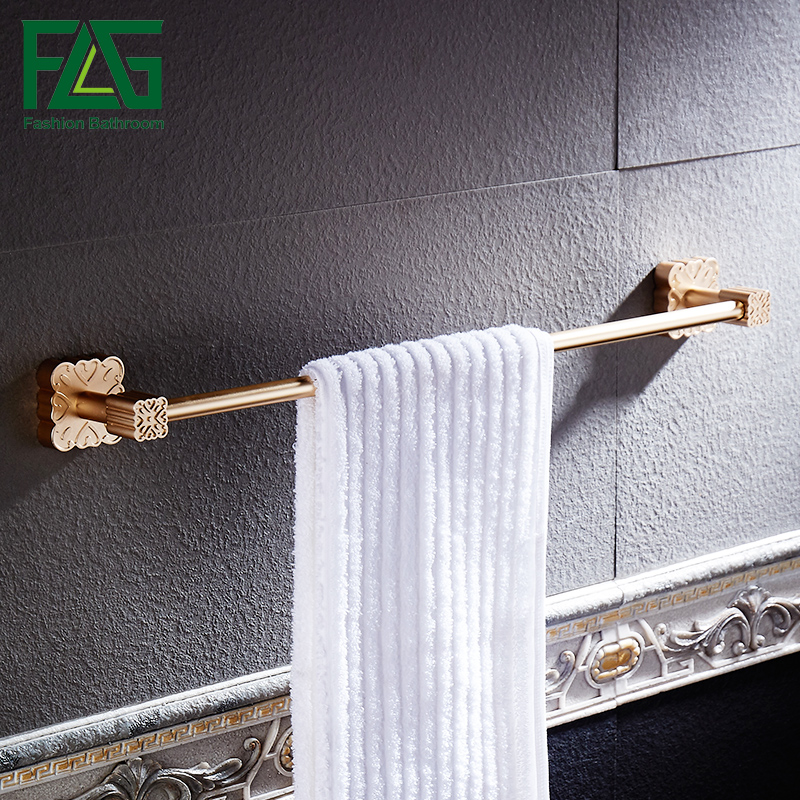 FLG Wall Mount Hanger Single Towel Bar Space aluminum Made Gold Finished towel rail Bathroom Accessories fixmee 50pcs white plastic invisible wall mount photo picture frame nail hook hanger