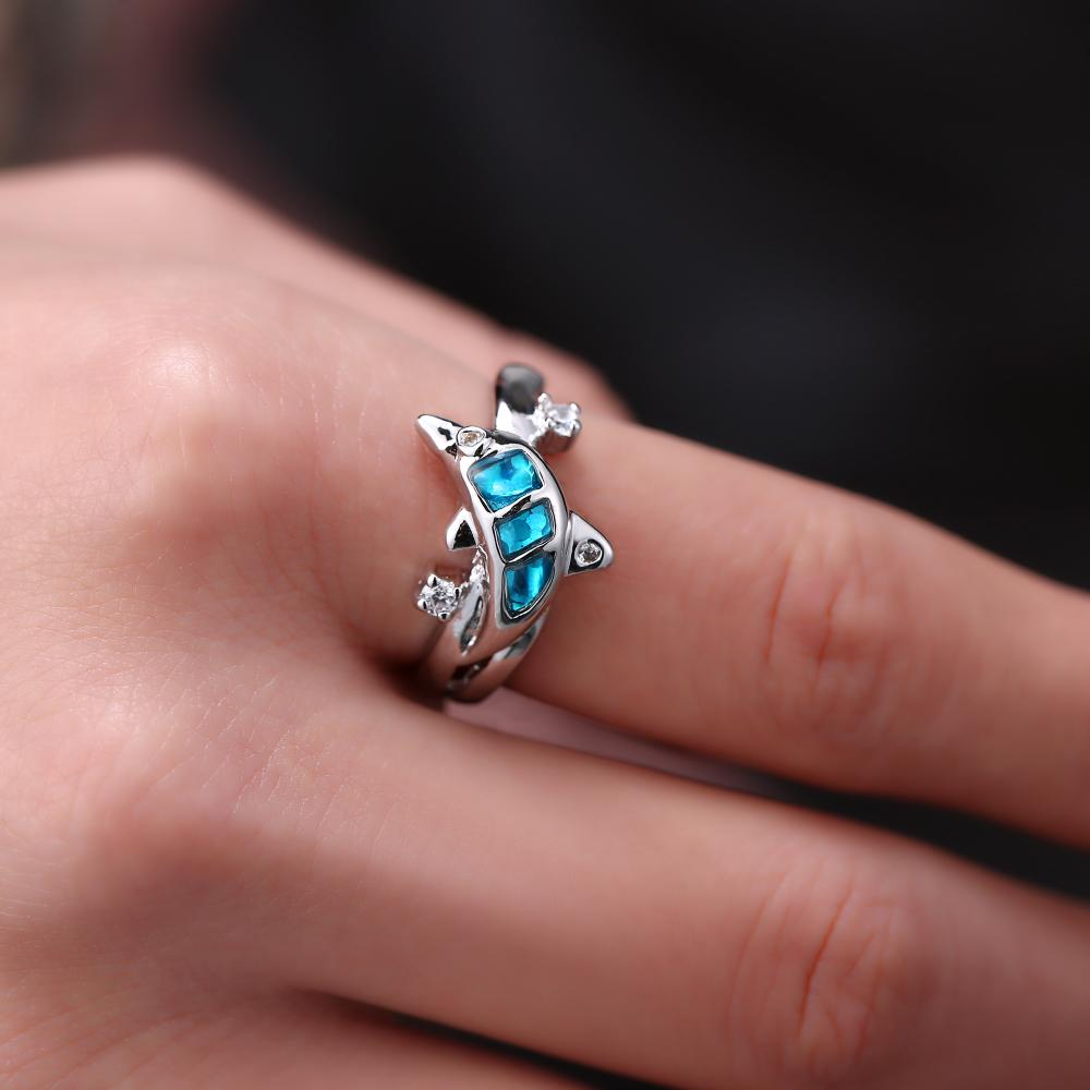 LEMOER New Coming Cute animals Dolphin blue gem Crystal Ring Silver ...