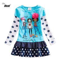 Baby girl dresses neat summer round collar cotton children's clothing dot flower decorative print girl long sleeve dress LH6495