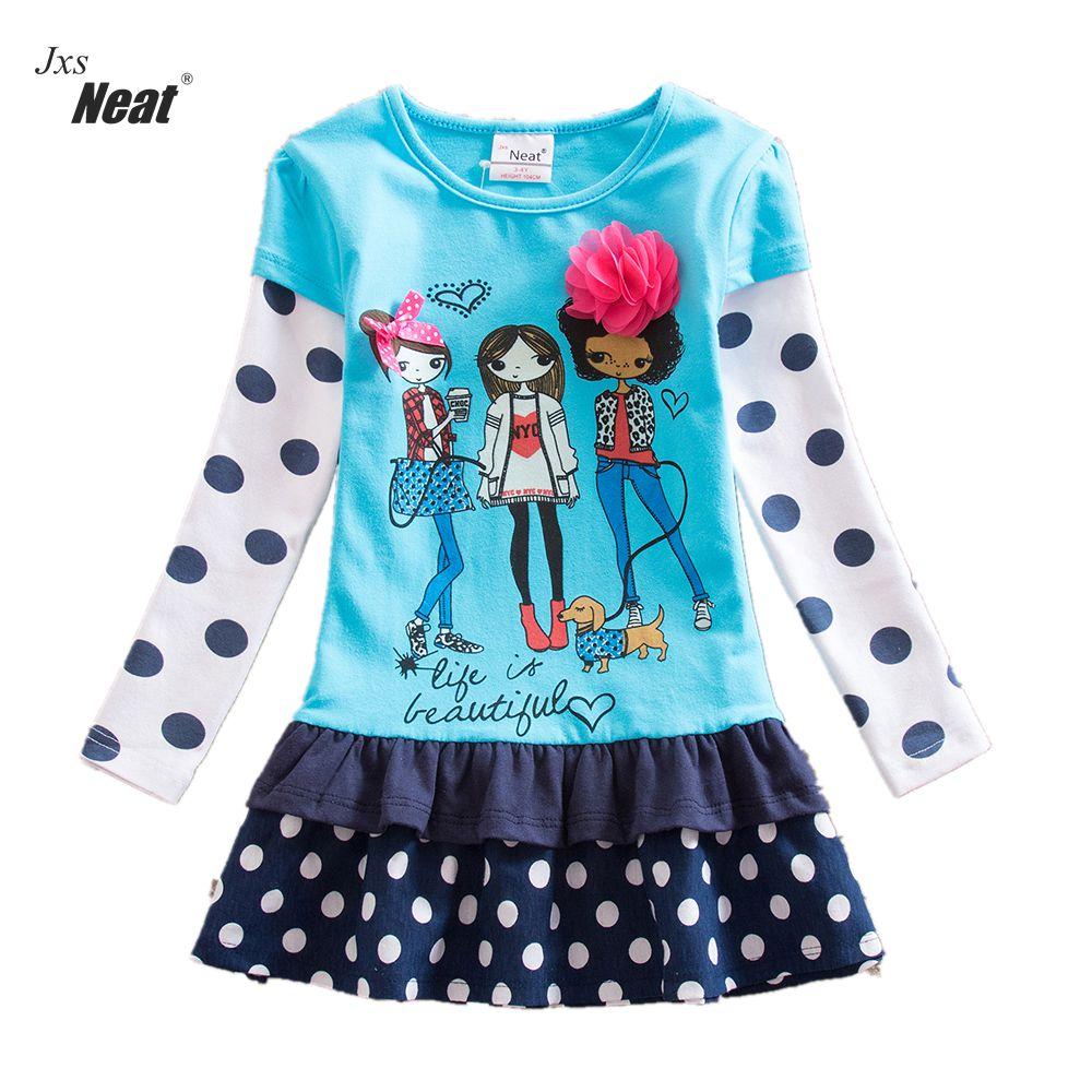 NEAT שמלות הנערה מסודר הקיץ צווארון צווארון הילדים של בגדים דוט פרח דקורטיביים הדפס ילדה שמלה שרוול ארוך LH6495