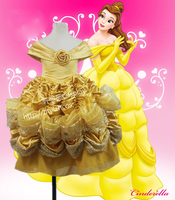 Top Quality Princess kids Belle Cosplay Costume Dress Beauty and The Beast Costume Halloween Costumes For Girls Children Dress