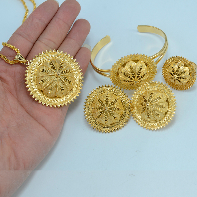 BIG Ethiopian Wedding Jewelry Set Brass Gold Plated Eritrea Case Africa Habesha Jewelry Ethiopia Traditional Festival #000102