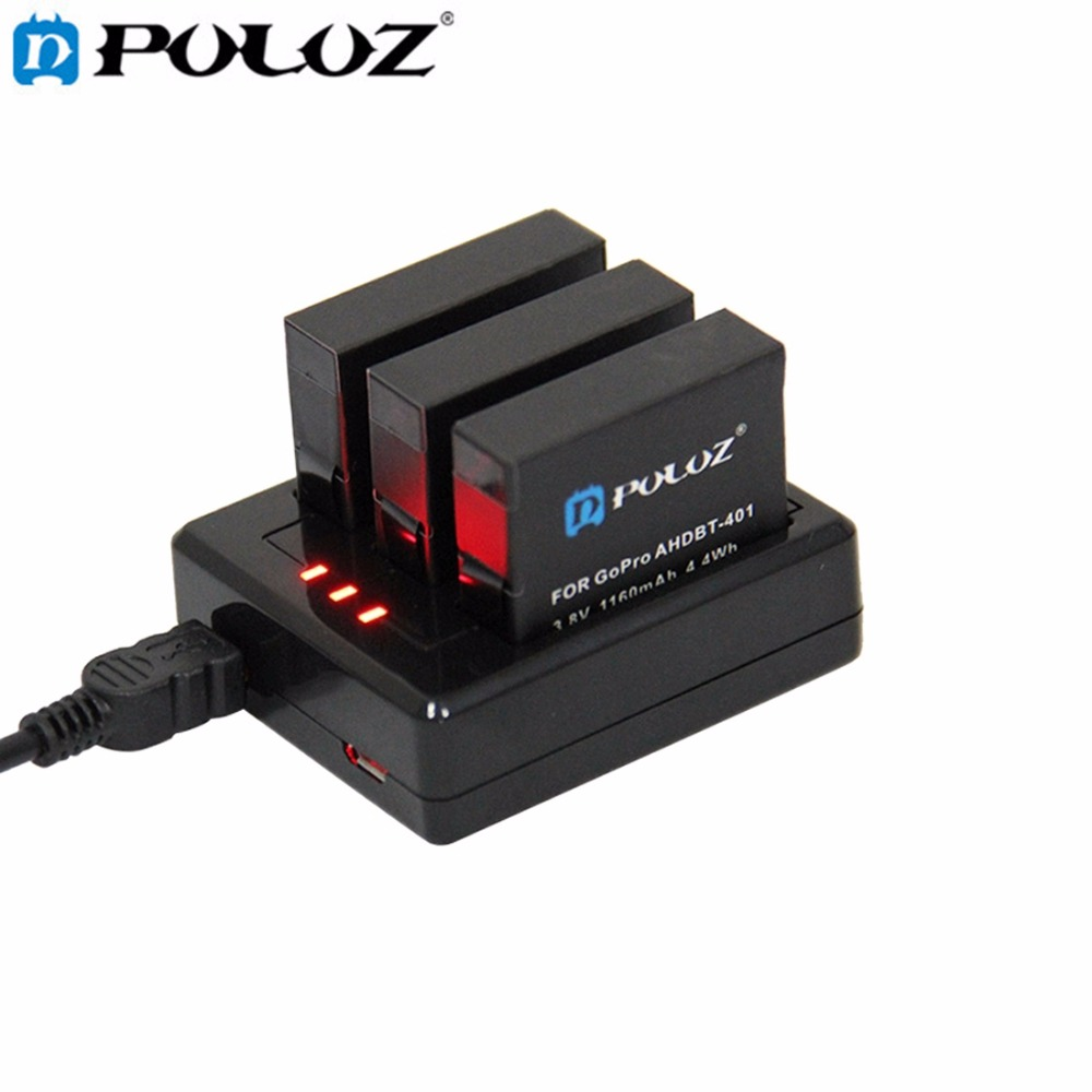 PULUZ For Go Pro Accessories 3-channel Battery Charger for GoPro HERO4 HERO 4 (AHDBT-401) 1pc 1600mah for gopro ahdbt 201 301 camera battery for gopro hero 3 3 ahdbt 301 ahdbt 201 battery for go pro accessories