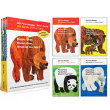 4PCS หนังสือภาษาอังกฤษสำหรับเด็ก My First MINI Library: หมีสีน้ำตาล,หมีสีน้ำตาล, คุณเห็นอะไร? การศึกษาหนังสือยอดนิยม