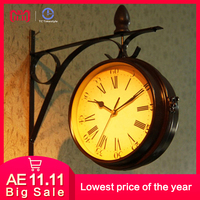 European Retro Creative Home Wall   Clock   Fashion Pastoral Double-sided Hanging Decoration Living Room Silent Needle Quartz