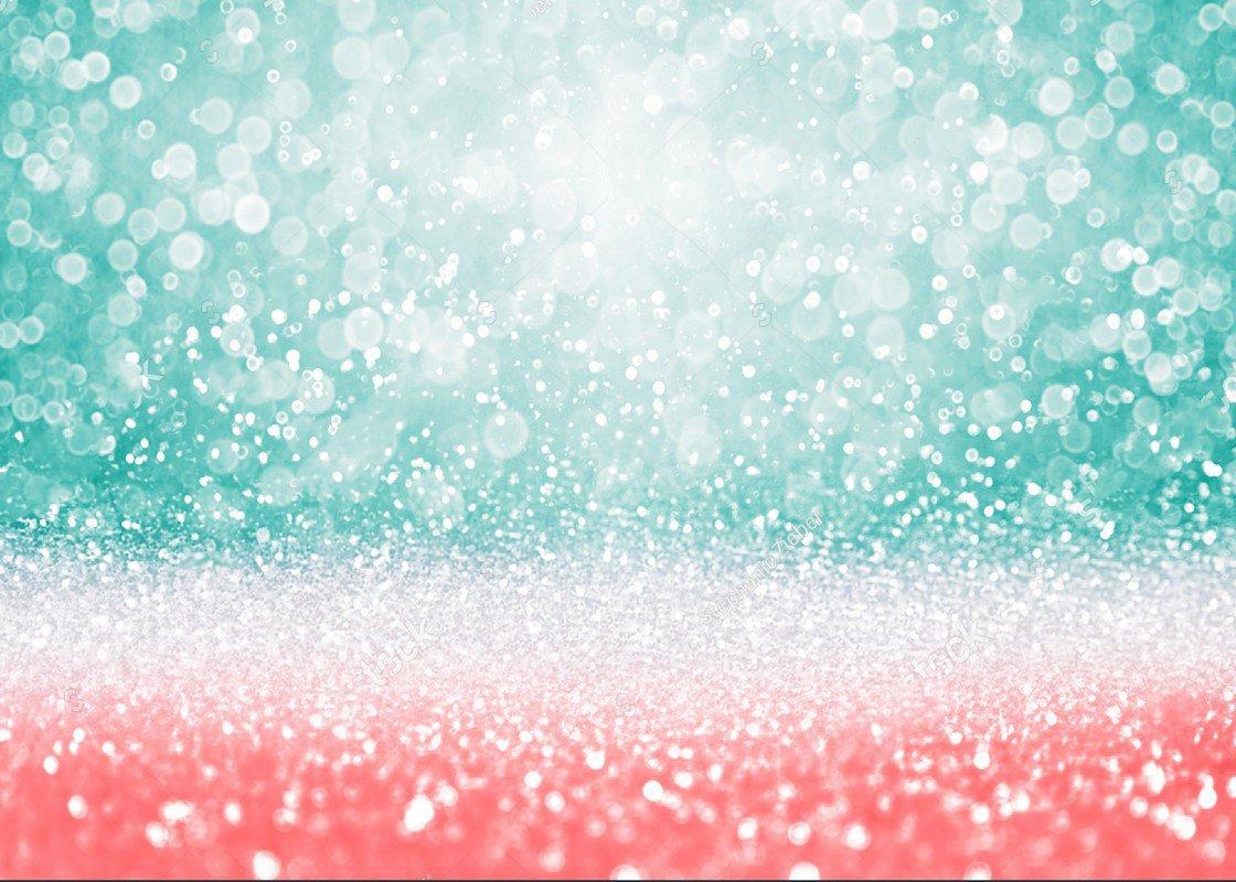 Teal Green Glitter Pink Peach Bokeh Happy Birthday Texture
