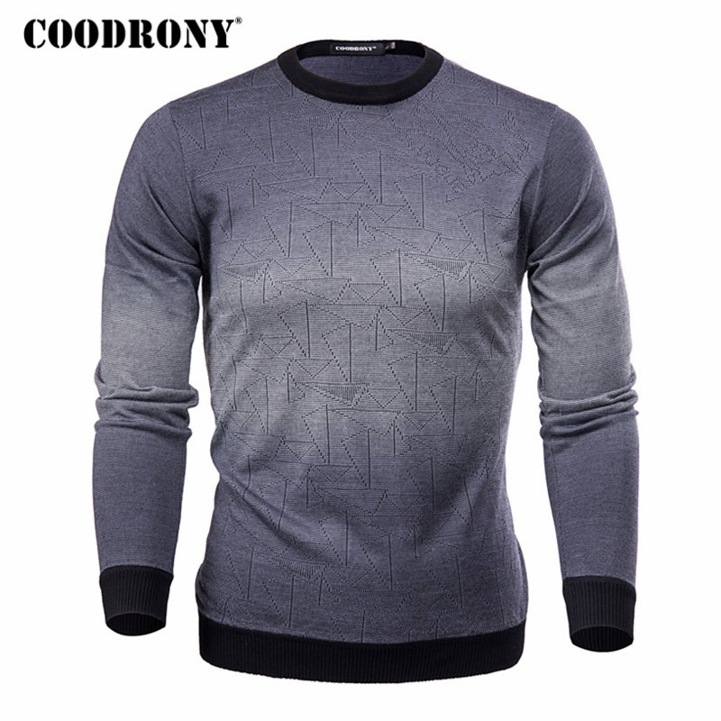 COODRONY suéter de cachemira hombres marca ropa Mens suéteres imprimir camisa Casual otoño lana suéter hombres o-cuello Pull Homme Top 613