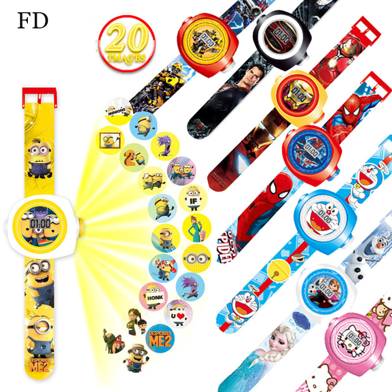 FD Creative Reflection Children Watch Cute Cartoon Pattern Minions Cool LED Display Kids toy Clock 2017 Hot New Girls Boys gifts joyrox minions pattern children watch 2017 hot despicable me cartoon leather strap quartz wristwatch boys girls kids clock
