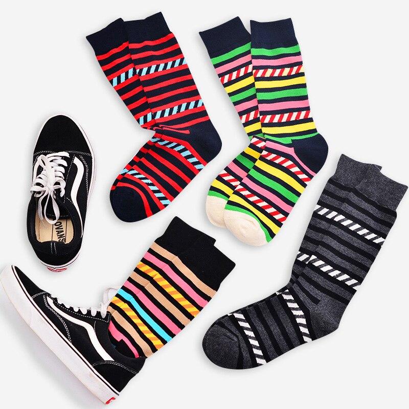 New Men Socks Casual Fashion Art Cotton Crew Colorful Stripe Pattern Skate Brand Happy Funny Harajuku Novelty Calcetines Sox
