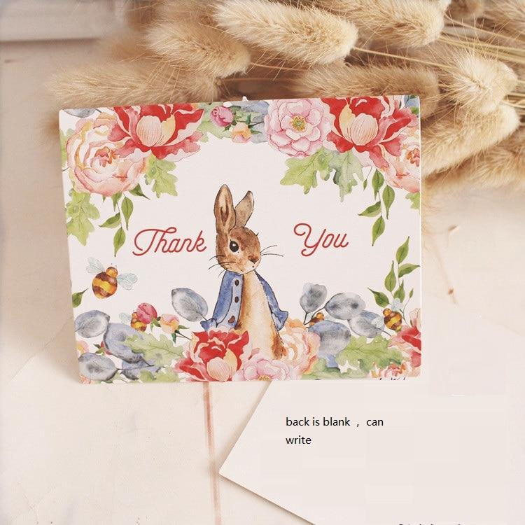 50pcs Mini thanks Card Peter Rabbit style leave message cards ...