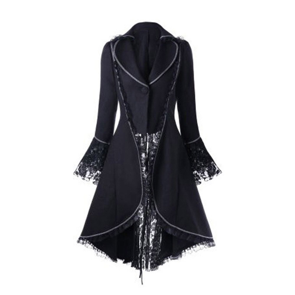 Black Girls Gothic   Trench   Coats Lace Patchwork Lace-up Backside A line Goth Overcoats Winter Flared Sleeve Goth Party Outwear