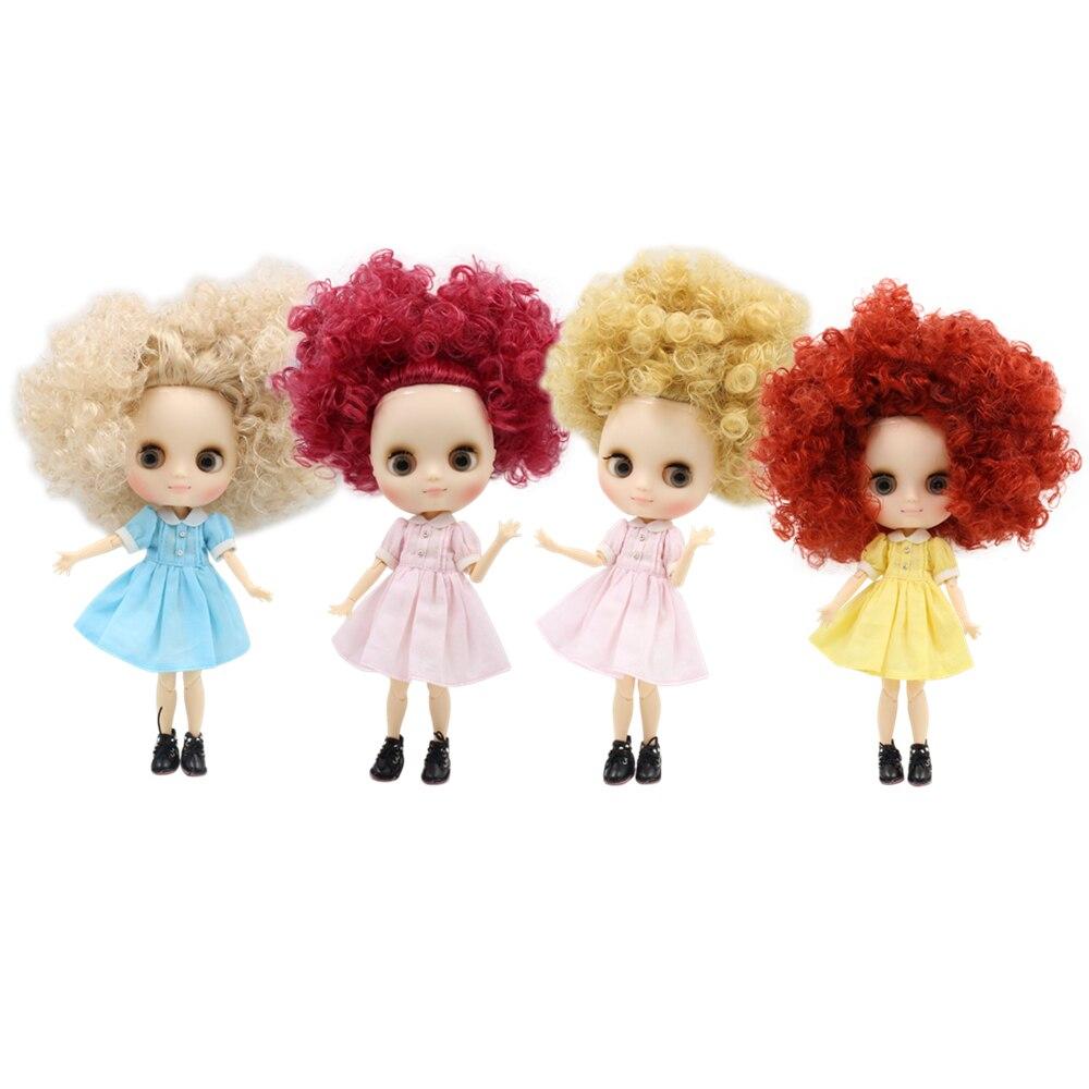 Usine middie poupée 1/8 bjd sauvage-curl cheveux rose brun blond mat visage joint corps 1/8 bjd cadeau jouet