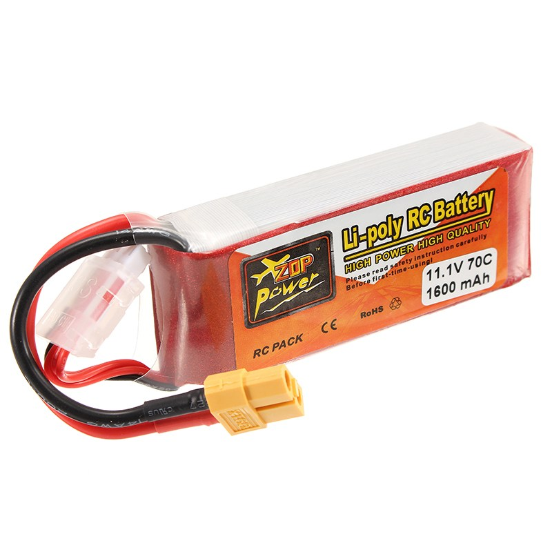 Original ZOP Power 11.1V 1600mAh 70C 3S Lipo Battery Rechargeable XT60 Plug Connector For RC Models Multicopter Power Spare Part high quality zop power 14 8v 2200mah 4s 45c lipo battery t plug rechargeable lipo battery for rc helicopter part