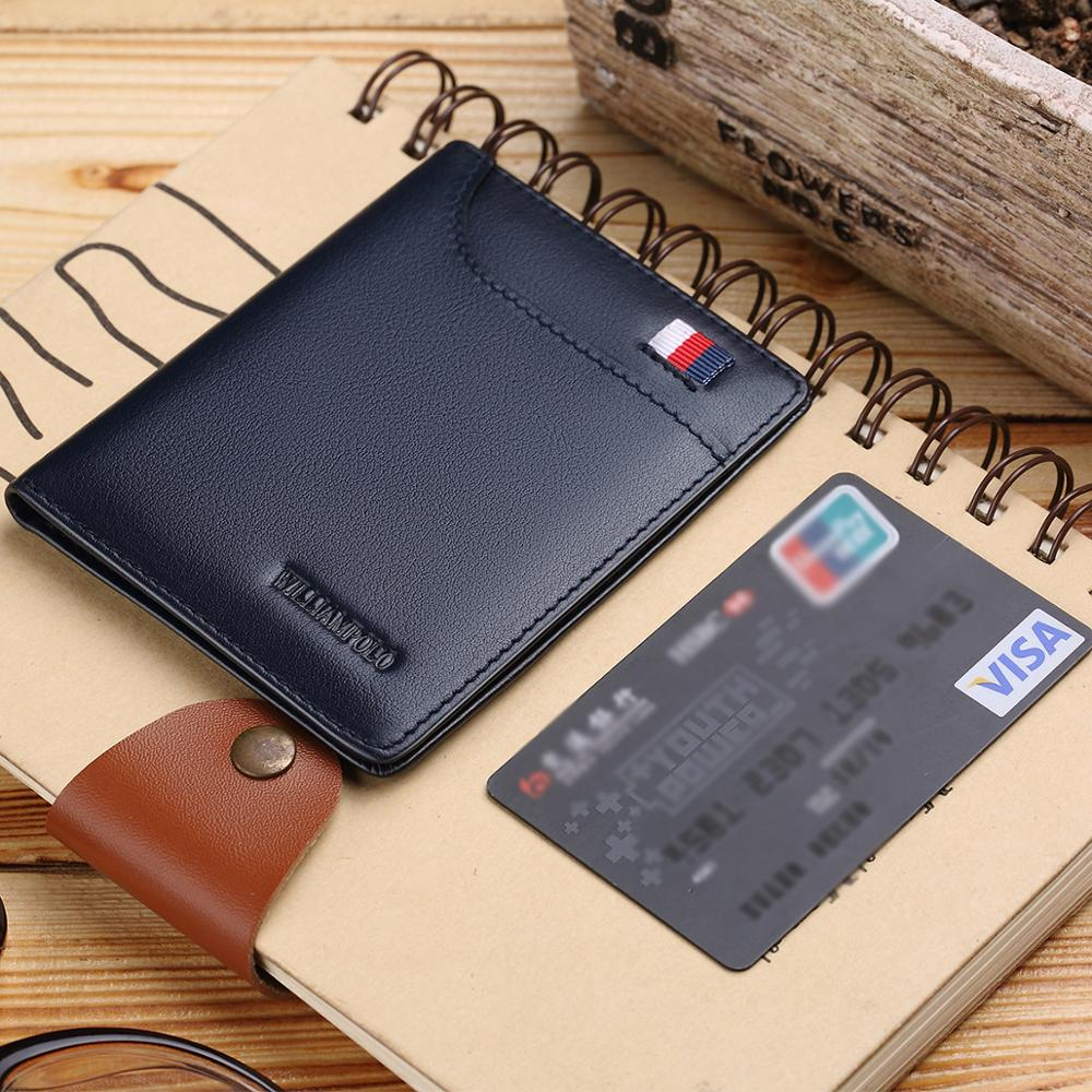 WILLIAMPOLO small wallet men  wallets purse mens wallet leather genuine slim wallet Credit Card Holder Bifold purse Portable leather