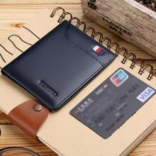 WILLIAMPOLO small wallet men  wallets purse mens leather genuine slim Credit Card Holder Bifold Portable