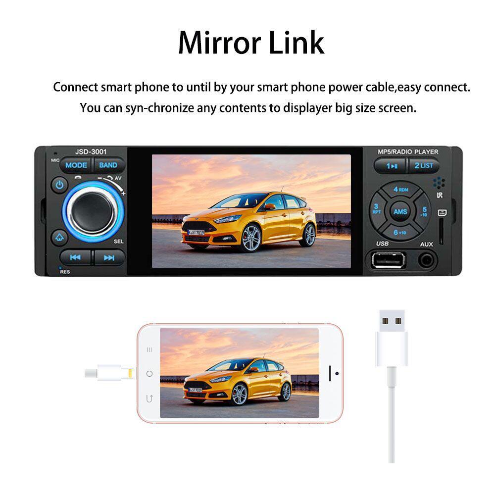 áudio automático estéreo multimídia player ligação espelho bluetooth usb aux fm swc
