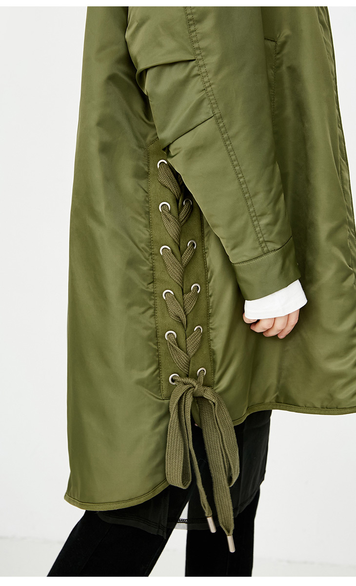 ONLY Women's Lace-up Hooded Cotton Coat |118122502 13