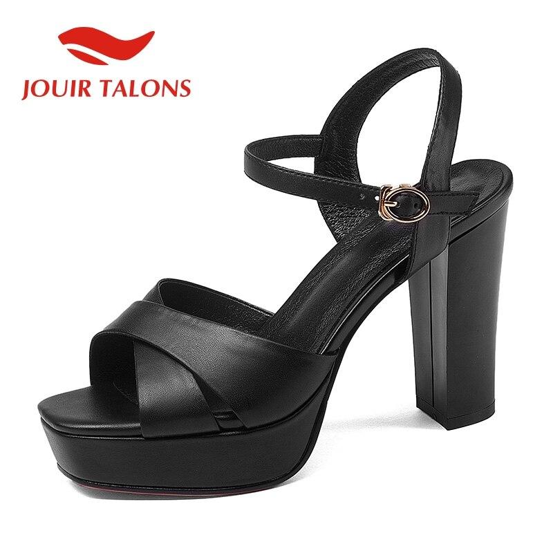 124f93098e2d À Brides Du Sandales 2019 Élégant Véritable Chaussures forme Cheville En  Pour Serres Femmes Jouir Femme Noir Cuir Talons ...