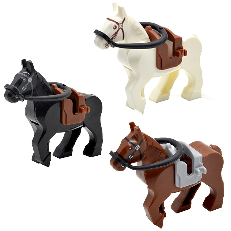 WW2 War Horses Black White Brown MOC Bricks Part Building Blocks Military Accessories Gifts Toys for ChildrenWW2 War Horses Black White Brown MOC Bricks Part Building Blocks Military Accessories Gifts Toys for Children