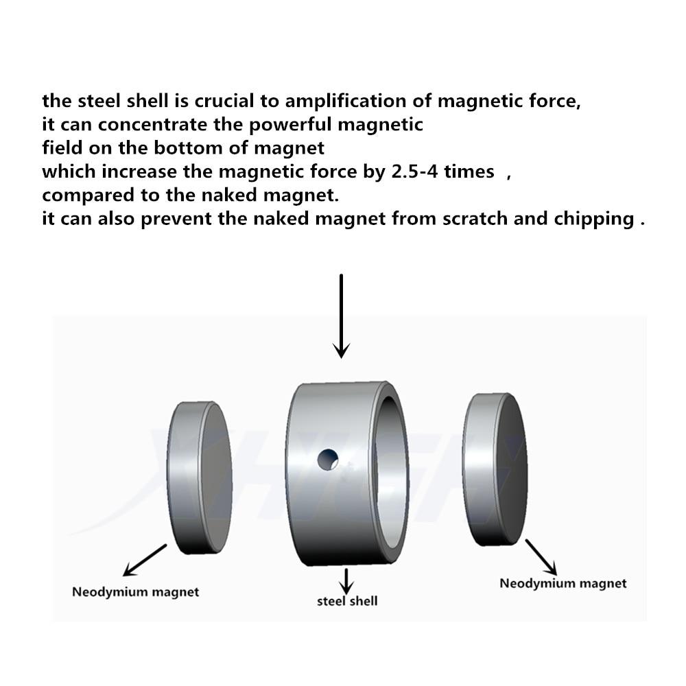 Aimant néodyme D75mm trou super puissant aimant de pêche de récupération Double face 300kg anneau circulaire crochet support permanent en acier - 6