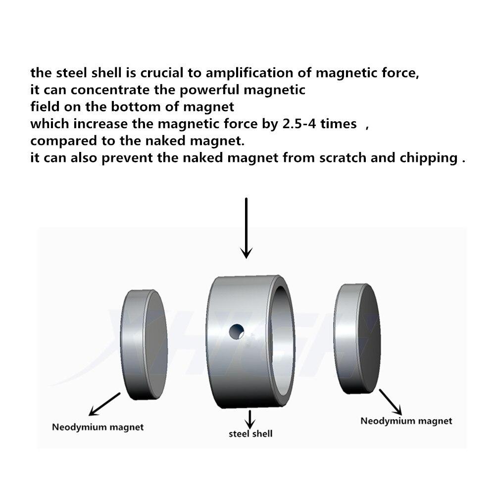 D75mm imán de neodimio súper poderoso agujero de doble cara salvar pesca imán 300 kg anillo Circular gancho permanente soporte de acero - 6