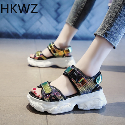 Women 39 s Sandals 2019 Summer Student Thick soled Joker Sports Muffin Bottom Bright Color Increased Non slip Women 39 s Shoes 6cm in High Heels from Shoes