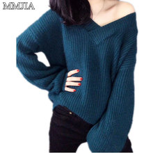 MuMuJia Women's Knitted Full Sleeve Deep V-neck Sweaters 2018 New Autumn Women Pullovers Female Sexy Loose Knitwear Bottom Tops new autumn winter sexy midriff baring sweaters loose solid knitted pullovers casual deep v neck sweater knitwear